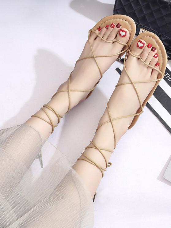 women's Strappy Lace-Up Ankle Wrap Thong Sandals - LIGHT BROWN EU 37