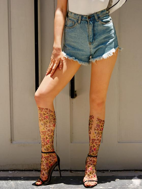 trendy Geometric Print See Thru Footed Leggings - MULTI ONE SIZE