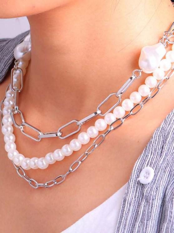 outfit Triple Layer Faux Pearl Chunky Chain Necklace - SILVER