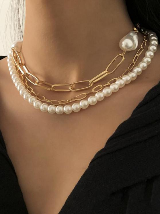 outfits Triple Layer Faux Pearl Chunky Chain Necklace - GOLDEN
