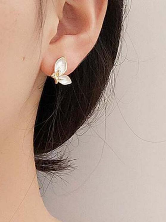 Butterfly-Shaped Rhinestone Golden Edge Stud Earrings - ذهبي