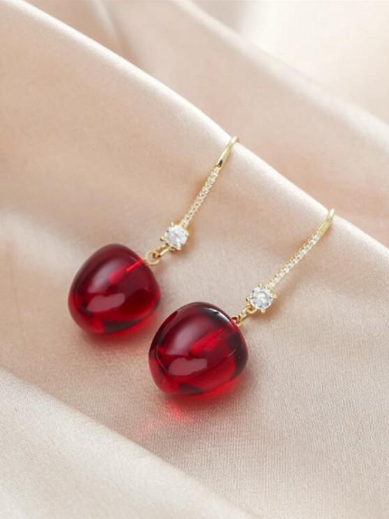 Cherry-Shaped Rhinestone Hook Drop Earrings - أحمر