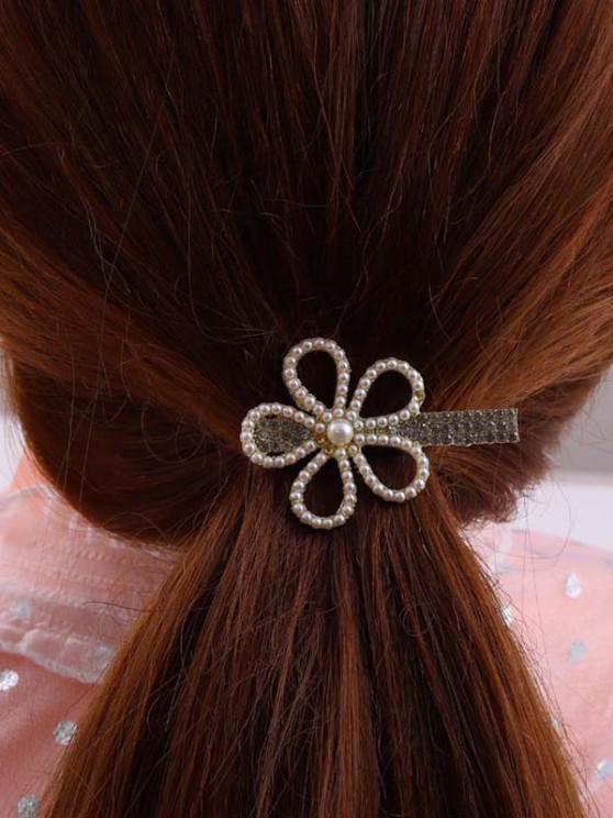 Cut-Out Flower Faux Pearl Rhinestone Hair Clip - ذهبي