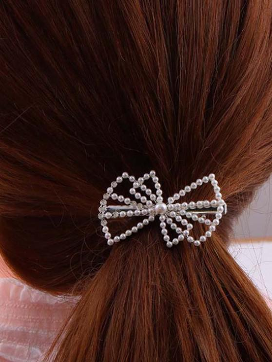 Bowknot-Shaped Faux Pearl Embellished Hair Clip - فضة