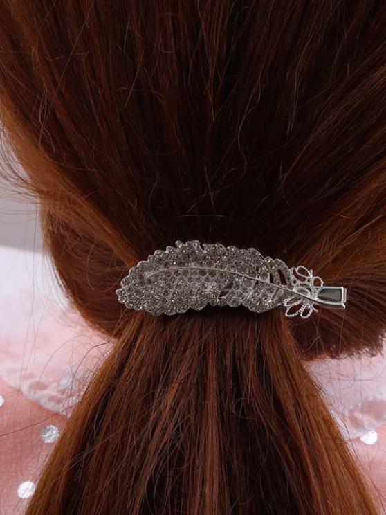 Feather-Shaped Rhinestone Embellished Hair Clip - فضة