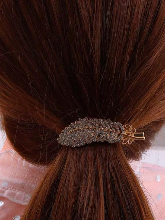 womens Feather-Shaped Rhinestone Embellished Hair Clip - GOLDEN