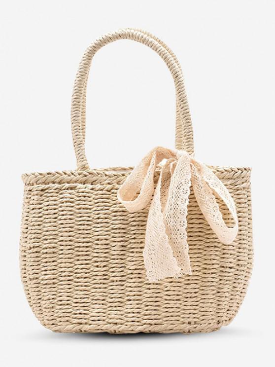 Raffia Woven Drawstring Lace-Tied Top Handle Basket Bag - أبيض