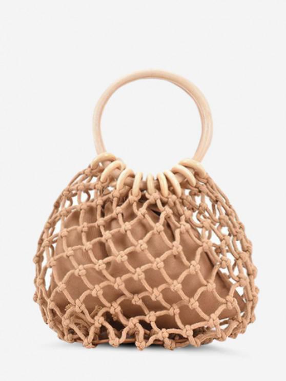 ladies Fishnet Drawstring Woven Top Handle Bag - LIGHT KHAKI