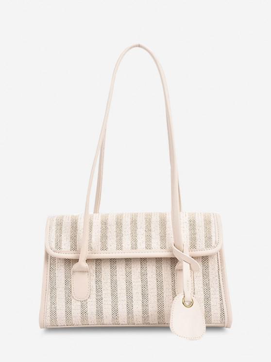 Striped Cover Shoulder Bag - أبيض