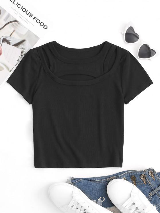 shop Cutout Stretch Slim Crop Tee - BLACK M
