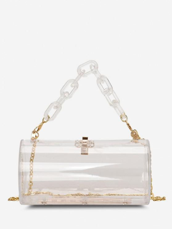 Transparent Cylinder Chain Crossbody Bag - شفاف