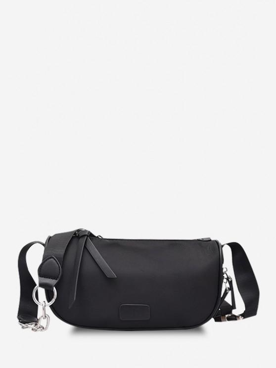 Einfarbige Reißverschlüsse Crossbody Bag - Schwarz