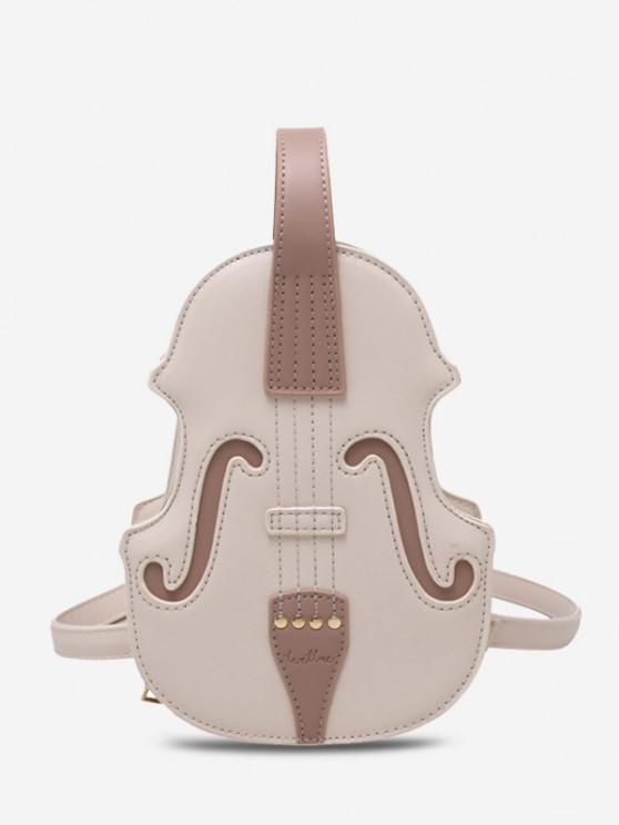 Violin Shape Multi-use Crossbody Bag - أبيض