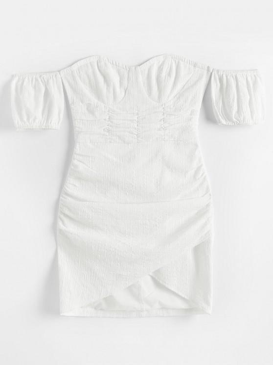 new ZAFUL Off Shoulder Ruched Tulip-hem Textured Bustier Dress - WHITE S