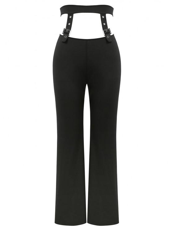 ZAFUL Pantalones Rectos de Corte de Hebilla - Negro S