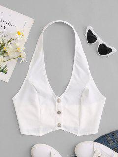 Halter Buttoned Knot Back Crop Top - White M