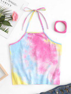 Halter Multicolored Tie Dye Crop Top - Multi L