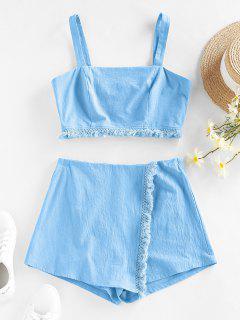 ZAFUL Frayed Back Zip Overlap Shorts Set - Light Blue Xl