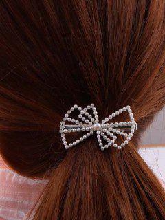 Pince à Cheveux En Forme De Nœud Ornée De Perles Fantaisies - Argent