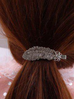 Feather-Shaped Rhinestone Embellished Hair Clip - Silver