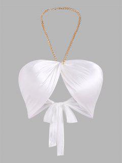 Kette Halfter Seidig Twist Kleid Mit Spitzenstrumpfband - Weiß S