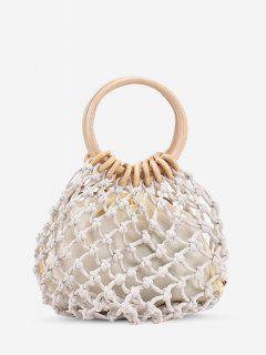 Fishnet Drawstring Woven Top Handle Bag - White
