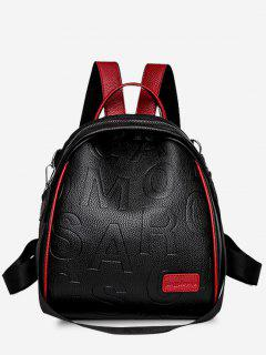 Letter Embossed Multi Strap Contrast Piping Backpack - Red