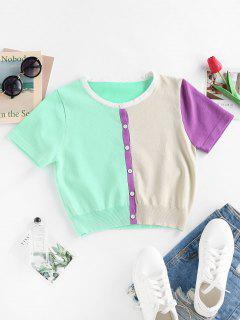 ZAFUL Color Blocking Knit Short Sleeve Cardigan - Multi L