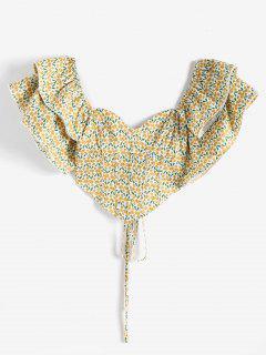 ZAFUL Gingko Leaf Voluminous Sleeve Lace-up Croset Top - Light Yellow Xl