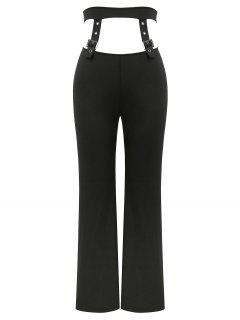 ZAFUL Buckle Detail Cut Out Straight Pants - Black L