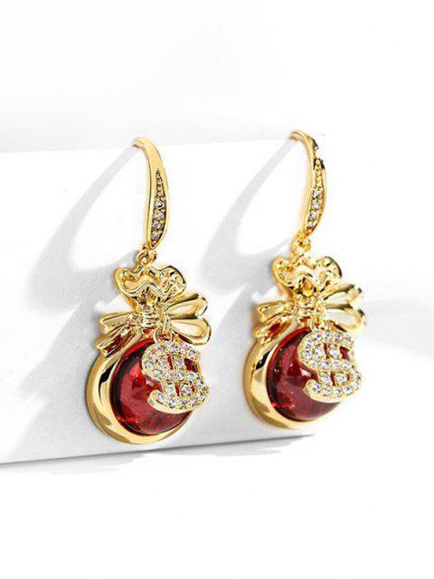 Künstliche Opal Gold Dollar Strass Verzierte Ohrringe - Golden  Mobile