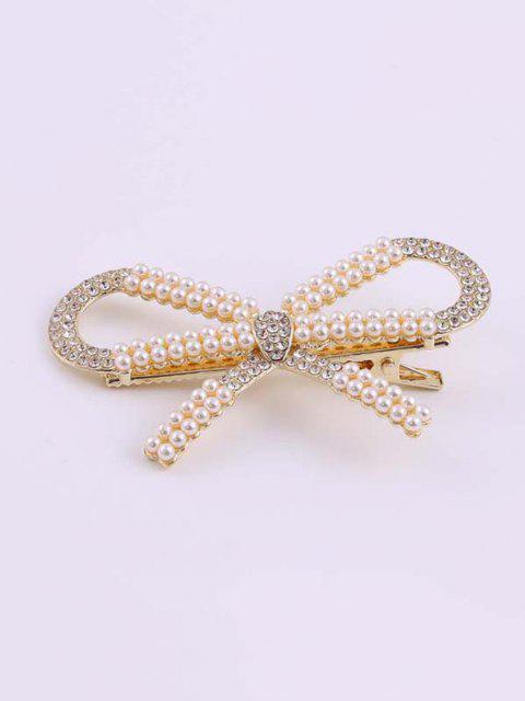 Bowknot Künstliche Perle Strass Goldene Haarspange - Golden  Mobile