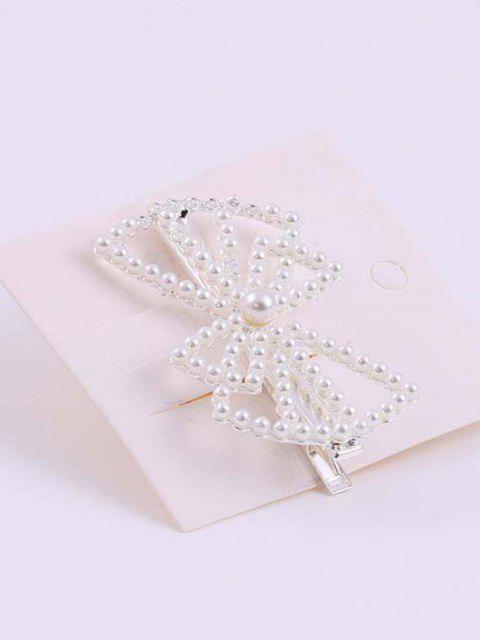 Bowknot Förmige Künstliche Perle Verschönertes Haarspange - Silber  Mobile