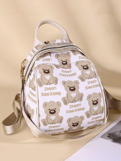 Cartoon Bären Druck Rucksack mit Mehreren Riemen - Weiß  Mobile