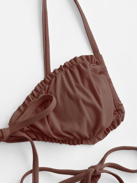 affordable ZAFUL Ribbed Frilled Tie High Cut Thong Bikini Swimwear - DEEP COFFEE M Mobile
