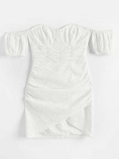 ZAFUL Schulterfreies Tulip Bustier Strukturiertes Kleid mit Rüschen - Weiß L Mobile