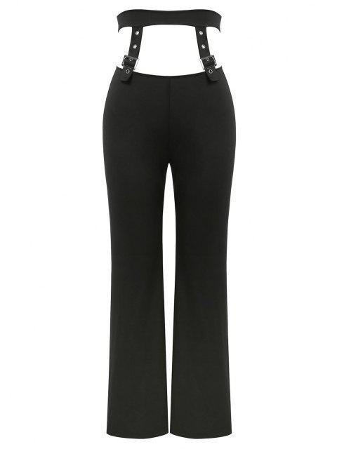 shops ZAFUL Buckle Detail Cut Out Straight Pants - BLACK M Mobile