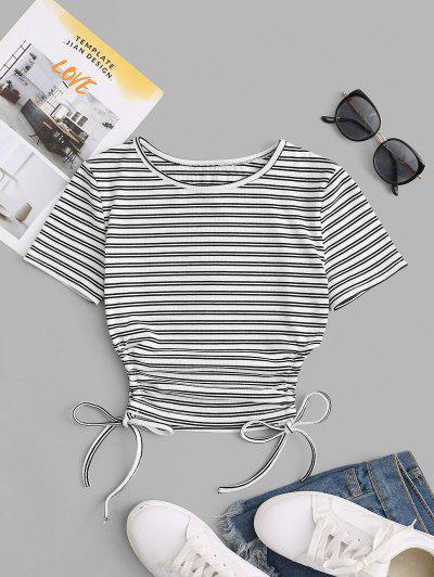 Striped Cinched Tie Slim Crop Tee - Black M