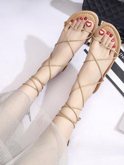 Strappy Lace-Up Ankle Wrap Thong Sandals - Light Brown Eu 40