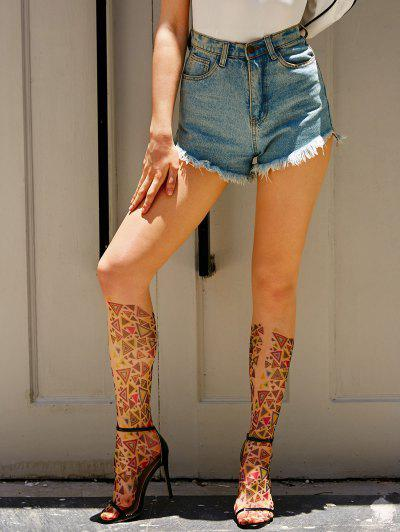 Geometric Print See Thru Footed Leggings - Multi