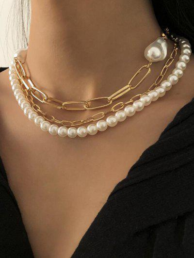Triple Layer Faux Pearl Chunky Chain Necklace - Golden