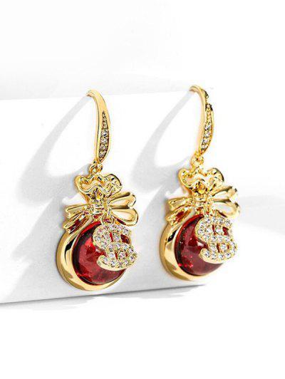 Künstliche Opal Gold Dollar Strass Verzierte Ohrringe - Golden