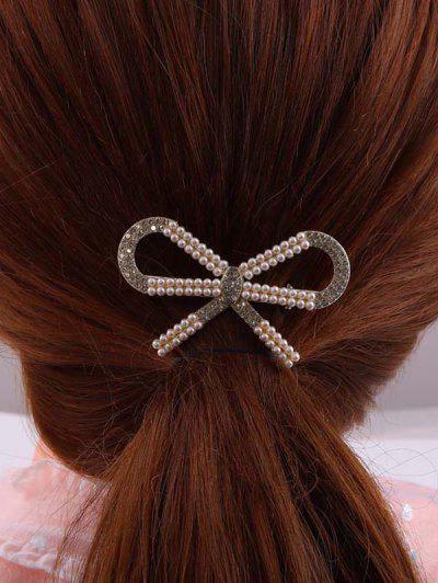 Bowknot Faux Pearl Rhinestone Golden Hair Clip - Golden