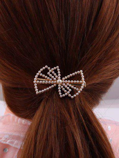 Bowknot-Shaped Faux Pearl Embellished Hair Clip - Golden