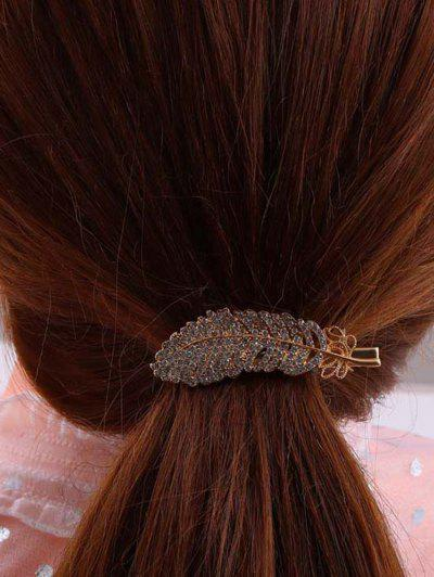 Feather-Shaped Rhinestone Embellished Hair Clip - Golden