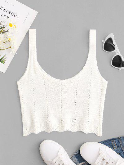 Scoop Neck Pointelle Knit Crop Tank Top - White S