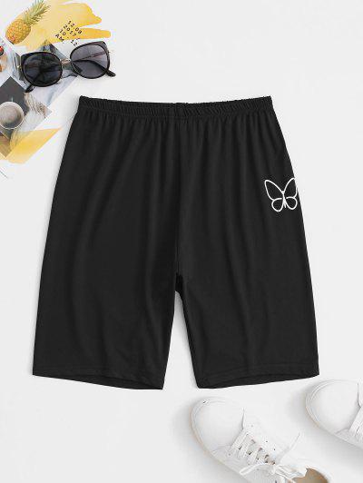 Sporty Butterfly Biker Shorts - Black S
