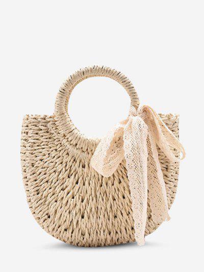 Raffia Woven Lace-Tied Top Handle Crossbody Bag - White