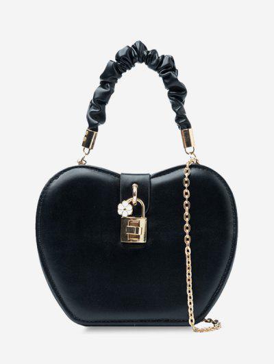 Floral Heart Shape Chain Handbag - Black