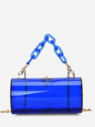 Transparent Cylinder Chain Crossbody Bag - Blue
